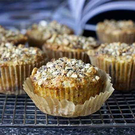 Pear muffins topped with hazelnuts, by the Smitten Kitchen