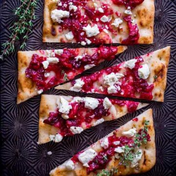 Flatbread with cranberries and goat cheese