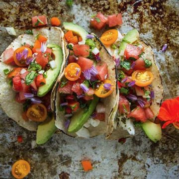Halibut tacos with watermelon salsa, recipe by Heather Christo