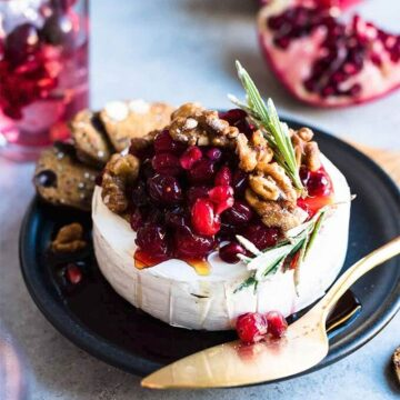 brie baked with cranberries and pomegranate