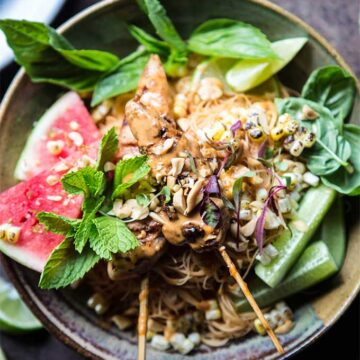 Thai peanut chicken with lime watermelon, recipe by Half Baked Harvest