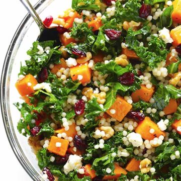 Roasted squash, kale, cranberry couscous salad - Gimmee Some Oven