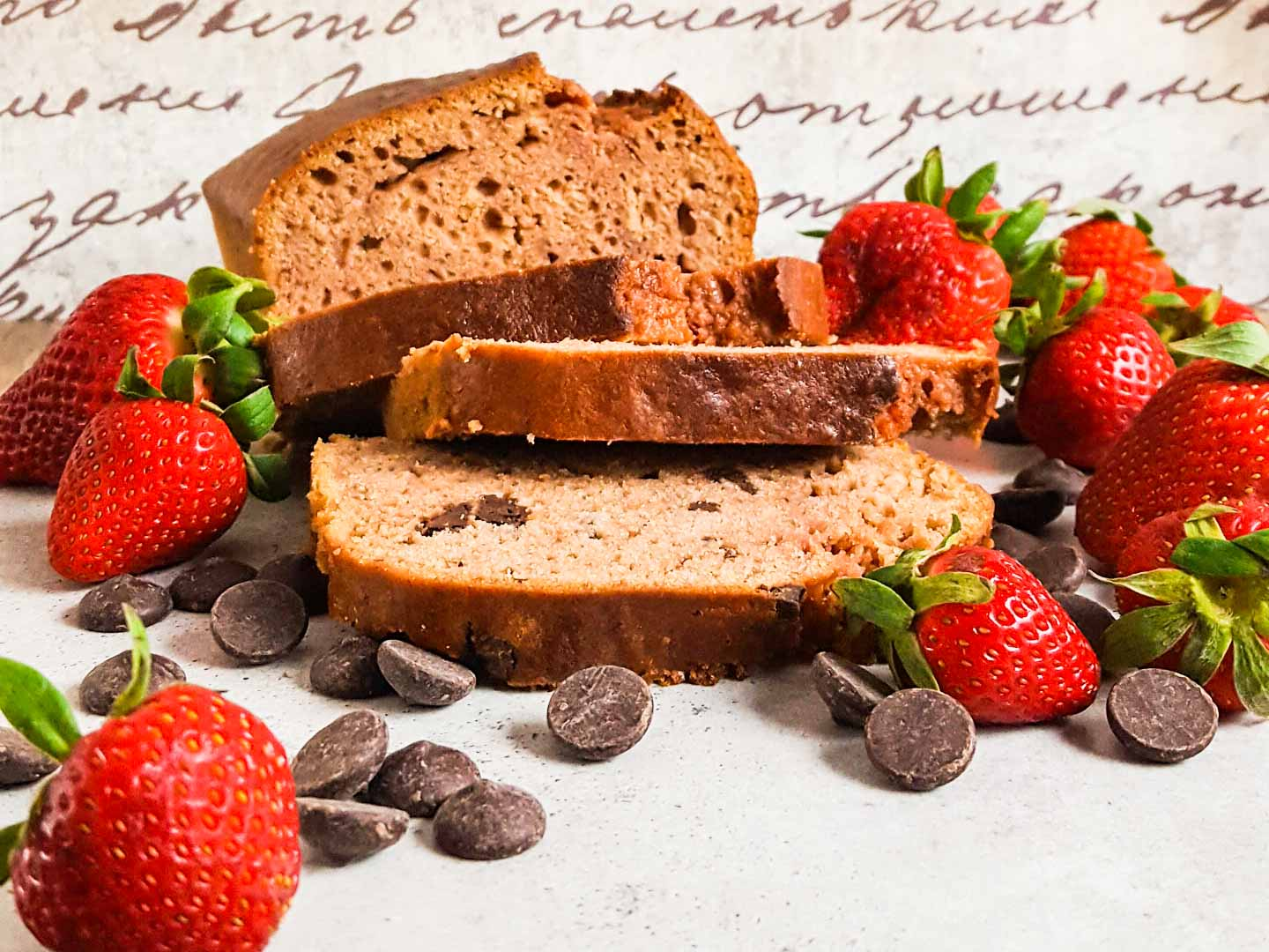 Slices of strawberry bread with chocolate chips