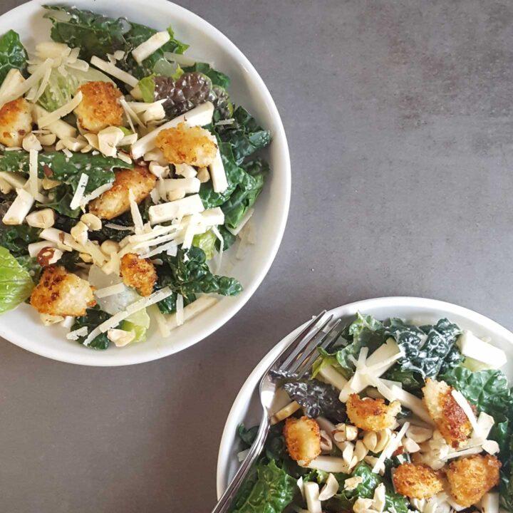 Kale Caesar Salad with Jicama