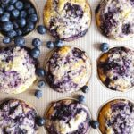 A picture of blueberry muffins in the tin