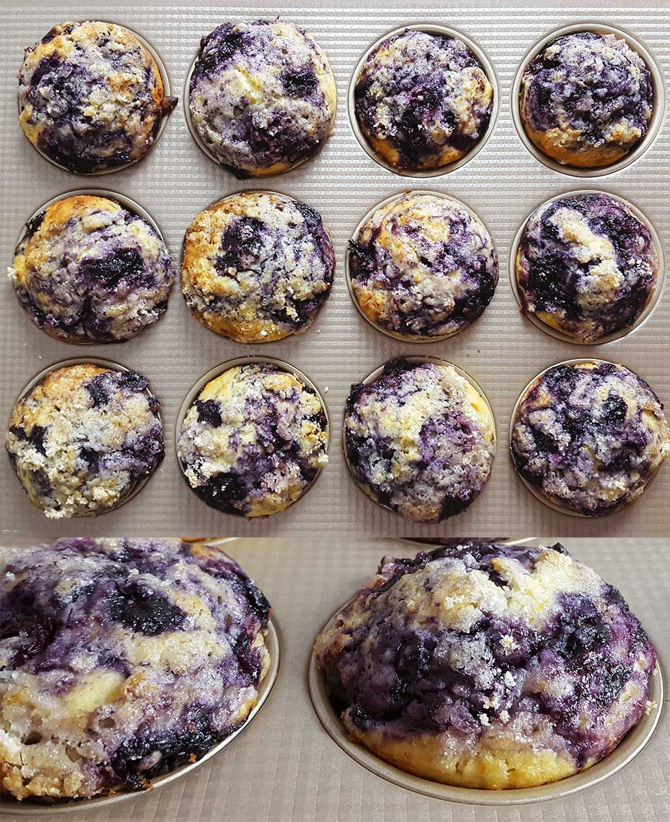A picture of muffins with blueberry sauce swirled into the top