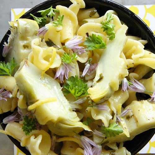 Pasta with artichokes and herbs