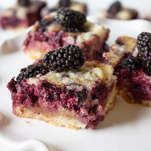 Bars with blackberry custard filling topped with fresh blackberries - recipe by Beyond the Chicken Coop