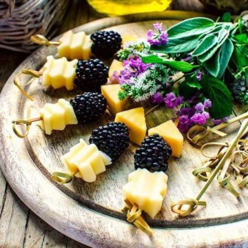Blackberries and cheese on skewers - recipe by The Organic Kitchen
