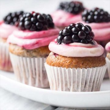 Muffins with blackberry frosting