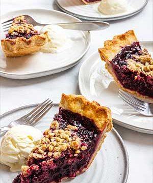 Slices of blackberry pie