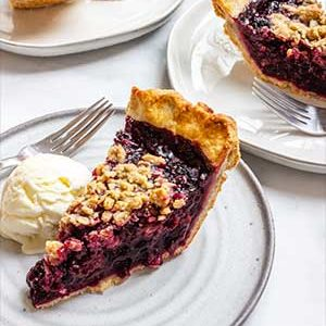 Slices of blackberry pie