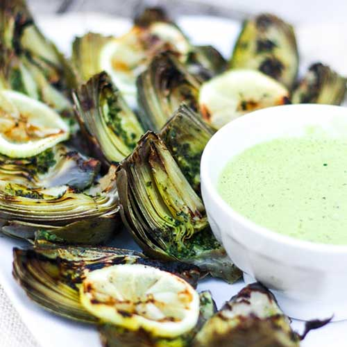 Grilled artichokes with dipping sauce