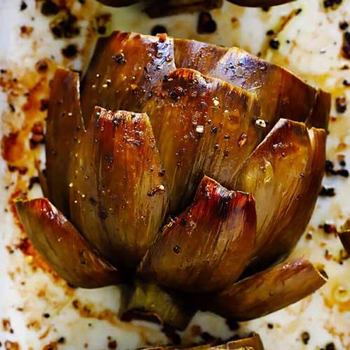 A roasted artichoke