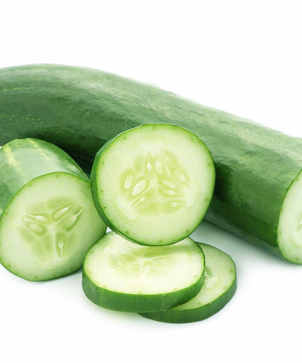 a cucumber and slices