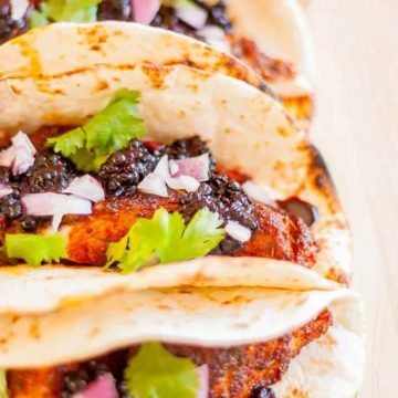 Tacos with fish and blackberry salsa by Plating Pixels
