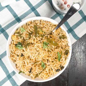 Capsicum rice. Recipe by Mrishtanna