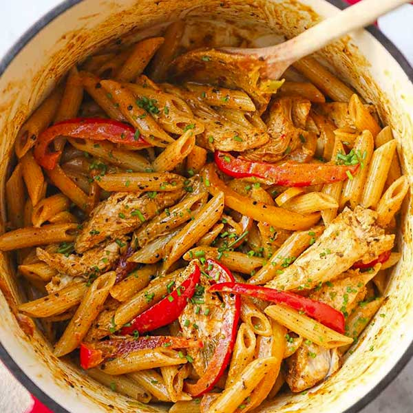 Jamaican rasta pasta. Recipe by Little Sunny Kitchen