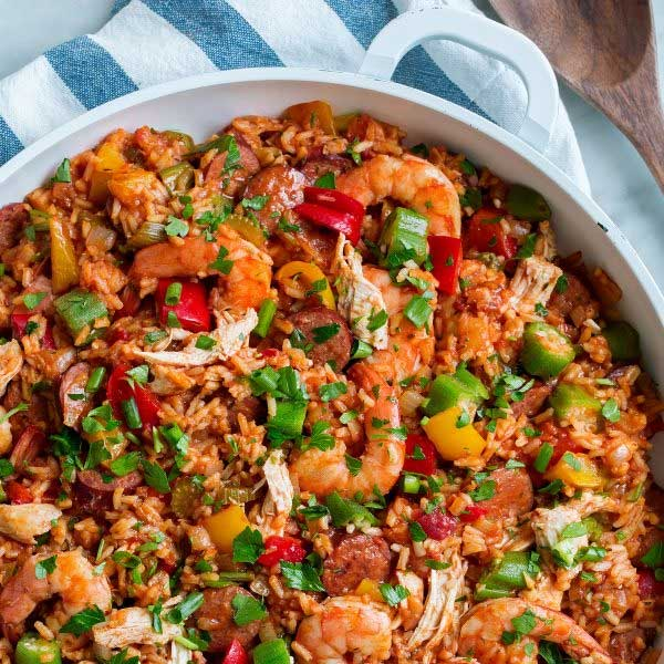 A skillet of jumbalaya, recipe by Cooking Classy