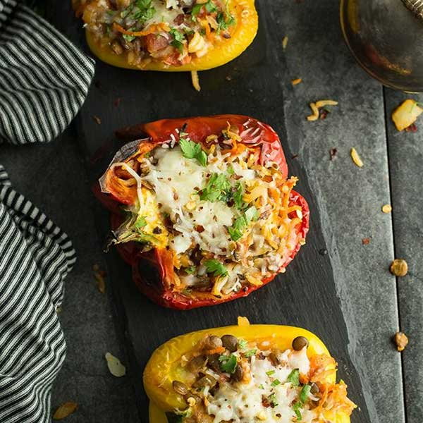 Lentil stuffed bell peppers. Recipe by Pepper Bowl
