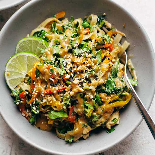 Thai noodle salad. Recipe by Pinch of Yum
