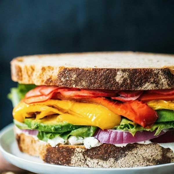 Sandwich with a rainbow of vegetables. Recipe by A Couple cooks.