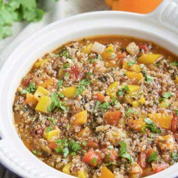 Vegan stuffed bell pepper soup recipe by Stacey Homemaker