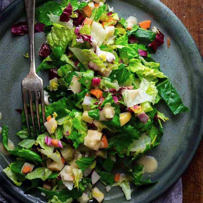 A plate of salad with winter vegetables. Recipe by Healthy Seasonal Recipes.