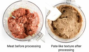 Before & after: meat looks like pate after going through the food processor