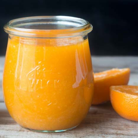 A jar of clementine jam. Recipe by The View from Great Island
