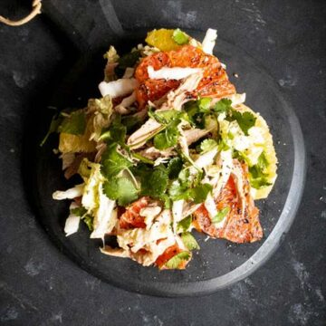 A salad with roasted duck, grapefruit, and wombok. Recipe by The Devil Wears Salad