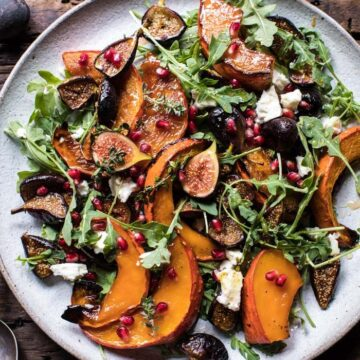 A salad with roasted squash, figs, and cheese