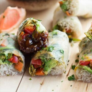 Spring rolls with brussels sprouts and a grapefruit hoisin dipping sauce. Recipe by Half Baked Harvest