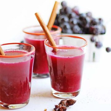 3 glasses of mulled concord grape cider, recipe by Rhubarbarians