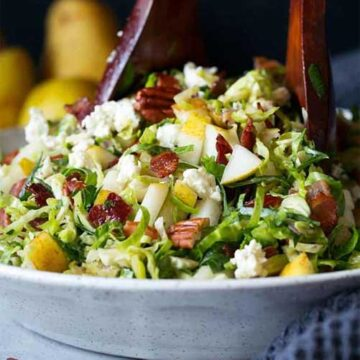 Salad with pear, bacon, and brussels sprouts, by Cooking Classy