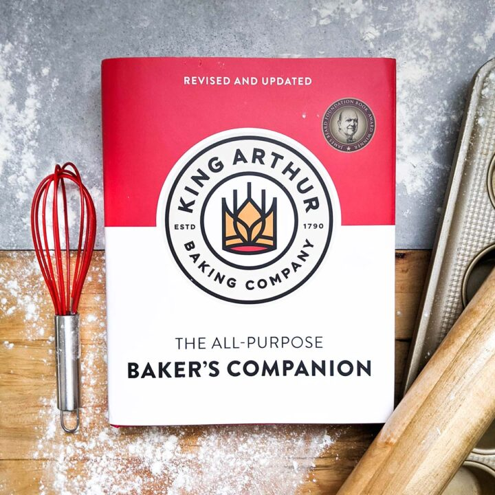 King Arthur Baking Companion cookbook with baking tools