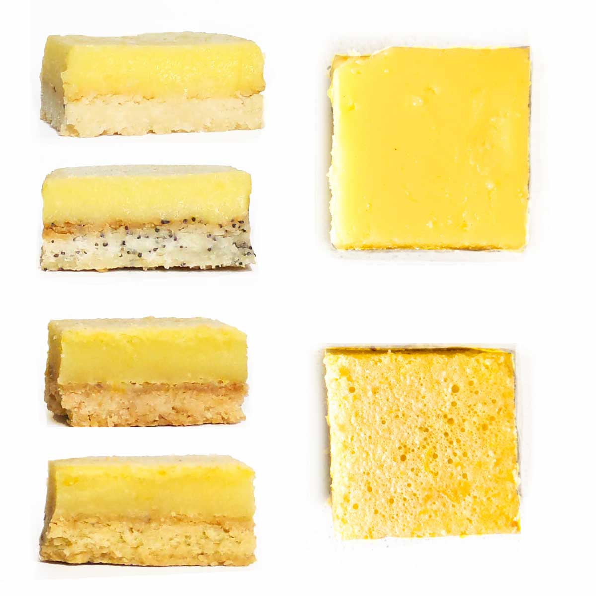 Lemon bar comparison with 4 different cut bars