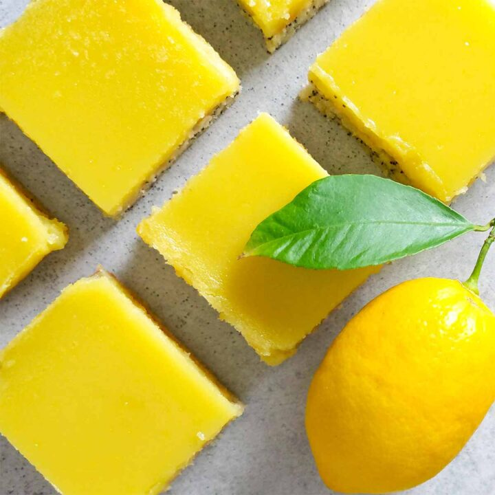 Lemon bars with poppy seed crust, and a lemon