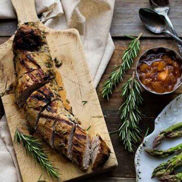 Rosemary roasted pork tenderloin with plum chutney. Recipe by Carolina Girl Cooks