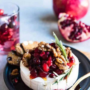 Baked brie topped with cranberries and pomegranate, recipe by Kitchen Confidante
