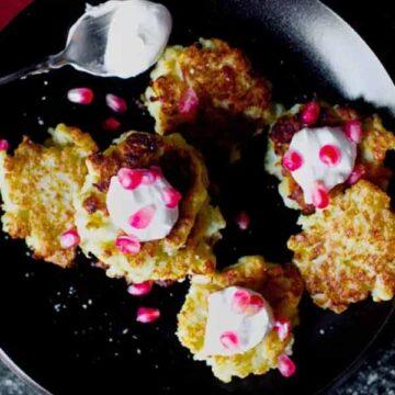 Cauliflower-feta fritters with pomegranate, recipe by Smitten Kitchen