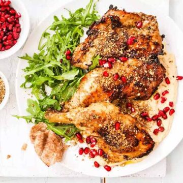 Grilled dukkah-crusted chicken with lemon hummus, recipe by Simply Recipes