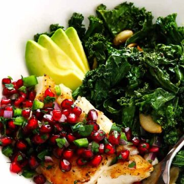 20-minute pan-seared fish with pomegranate salsa, recipe by Gimme Some Oven
