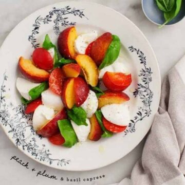 Peach and plum caprese salad. Recipe by Love & Lemons