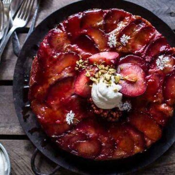upside down cake recipe by Half Baked Harvest