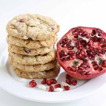 Pomegranate white chocolate chunk cookies, recipe by two peas & their pod