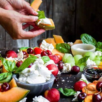 Caprese platter with stone fruit. Recipe by My Diary of Us