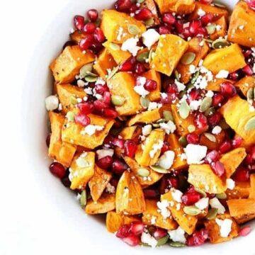 Sweet potato pomegranate salad, recipe by two peas & their pod