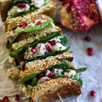 Turkey pomegranate salad sandwiches, recipe by My Diary of Us