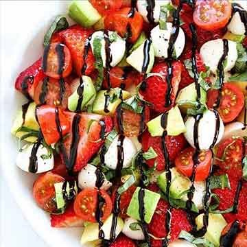 Avocado strawberry caprese salad by Two Peas and Their Pod